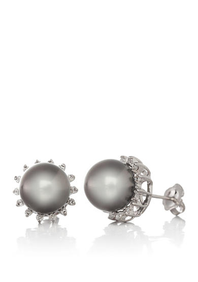 Belk & Co. 14k White Gold Tahitian Pearl and Diamond Earrings
