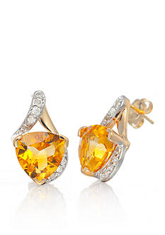 Belk & Co. 14k Yellow Gold Citrine and Diamond Earrings