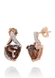 Belk & Co. Smoky Quartz and Diamond Earrings in 14k Rose Gold