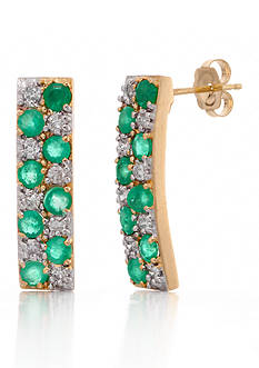 Belk & Co. Emerald and Diamond Hoop Earrings in 14k Yellow Gold