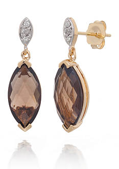 Belk & Co. Smokey Quartz and Diamond Earrings in 14k Yellow Gold