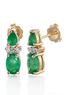 Belk & Co. 14k Yellow Gold Emerald and Diamond Earrings