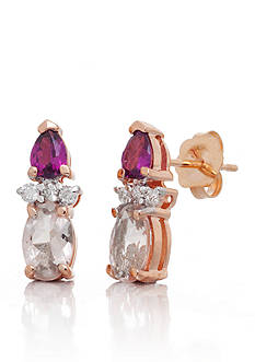Belk & Co. Morganite, Rhodolite Garnet and Diamond Earrings in 14k Rose Gold