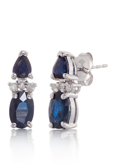 Belk & Co. Sapphire and Diamond Earrings in 14k White Gold