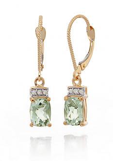 Belk & Co. Mint Quartz and Diamond Earrings in 14k Yellow Gold