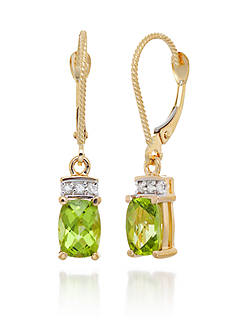 Belk & Co. Peridot and Diamond Earrings in 14k Yellow Gold