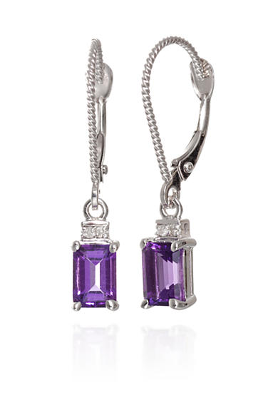 Belk & Co. Amethyst and Diamond Accent Earrings in 14k White Gold