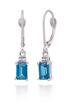 Belk & Co. London Blue Topaz and Diamond Accent Earrings in 14k White Gold