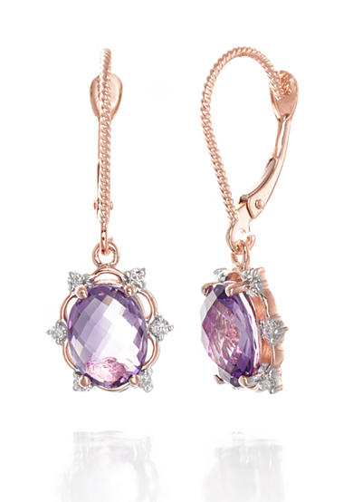 Belk & Co. Amethyst and Diamond Earrings in 14k Rose Gold