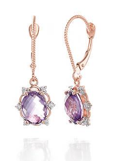 Belk & Co. Amethyst and Diamond Earrings in 14k Rose Gold