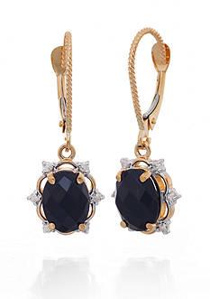 Belk & Co. Onyx and Diamond Earrings in 14k Yellow Gold