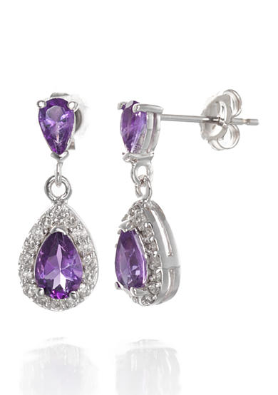 Belk & Co. Amethyst and Diamond Earrings in 14k White Gold