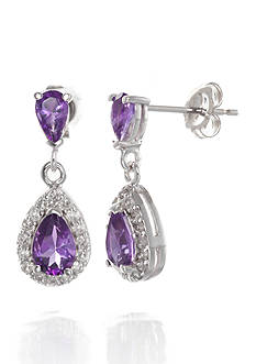 Belk & Co. Amethyst and Diamond Earrings in 14k White Gold