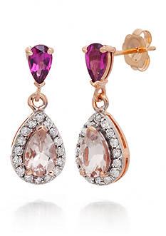 Belk & Co. Morganite, Rhodolite Garnet and Diamond Earrings in 14k Rose Gold