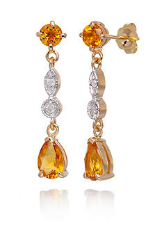 Belk & Co. Citrine and Diamond Accent Earrings in 14k Yellow Gold