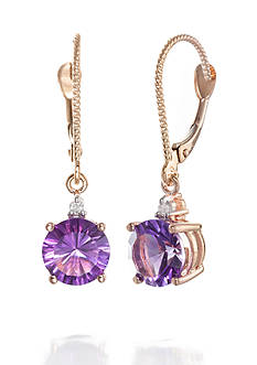 Belk & Co. Amethyst and Diamond Accent Earrings in 14k Rose Gold
