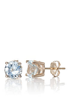 Belk & Co. Round Aquamarine Stud Earrings set in 14K Yellow Gold