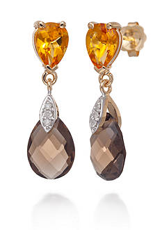 Belk & Co. Citrine, Smoky Quartz, and Diamond Accent Earrings in 14k Yellow Gold