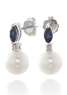 Belk & Co. White Freshwater Pearl, Sapphire, and Diamond Linear Earrings in 14k White Gold