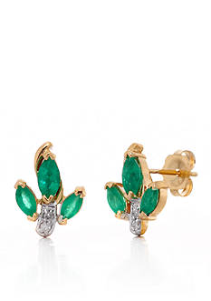 Belk & Co. Marquise Emerald and Diamond Button Earrings in 14k Yellow Gold
