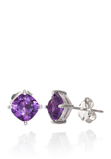 Belk & Co. Amethyst Earrings in 14k White Gold