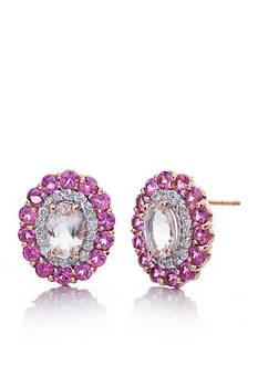 Belk & Co. Morganite, Rhodolite Garnet, and Diamond Earrings in 14k Rose Gold