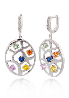Belk & Co. Mutlicolored Sapphire and Diamond Earrings in Sterling Silver