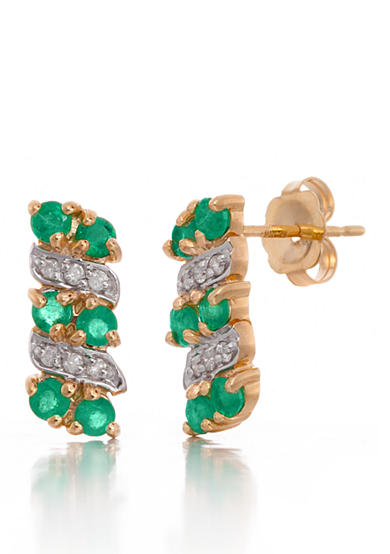 Belk & Co. Round Emerald and Diamond Button Earrings in 14k Yellow Gold