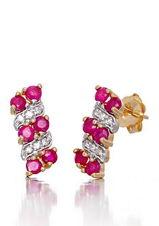 Belk & Co. Round Cut Rubies & Diamonds Earrings Set in 14K Yellow Gold