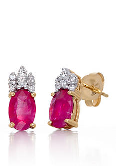 Belk & Co. Oval Cut Ruby with Accent Diamonds Earrings Set in 14K Yellow Gold