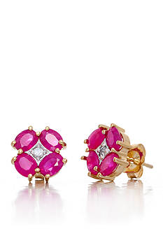 Belk & Co. Oval Cut Ruby & Diamond Flower Earrings Set in 14K Yellow Gold