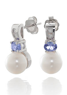 Belk & Co. Freshwater Pearl, Tanzanite, and Diamond Button Earrings in 14k White Gold