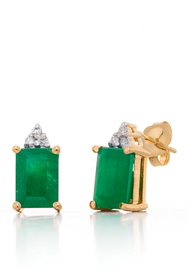 Belk & Co. Emerald and Diamond Button Earrings in 14k Yellow Gold
