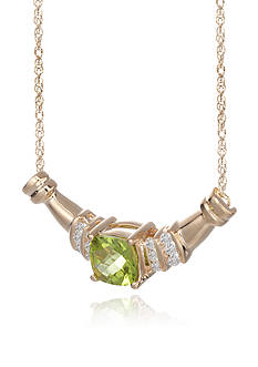 Belk & Co. 14k Yellow Gold Peridot and Diamond Necklace