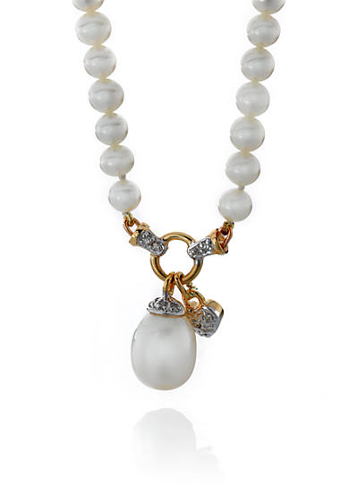 Belk & Co. 14k Yellow Gold Freshwater Pearl and Diamond Heart Necklace