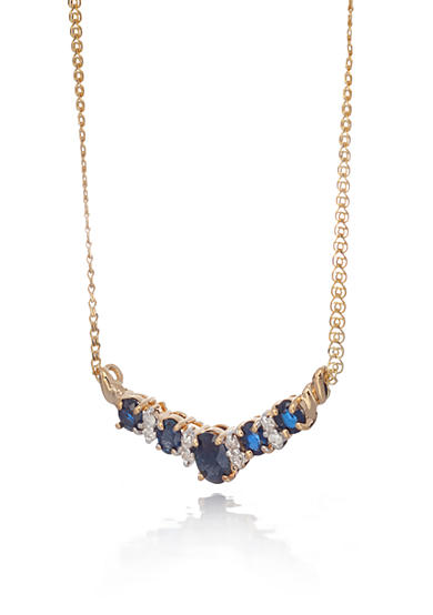 Belk & Co. 14k Yellow Gold Sapphire and Diamond Necklace