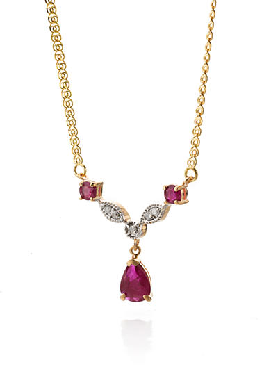 Belk & Co. 14k Yellow Gold Ruby and Diamond Bar Necklace