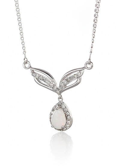 Belk & Co. 14k White Gold Opal and Diamond Necklace