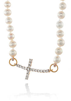 Belk & Co. 14K Yellow Gold Freshwater Pearl and Diamond Cross Necklace