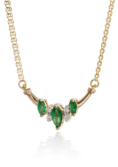 Belk & Co. 14k Yellow Gold Emerald and Diamond Necklace