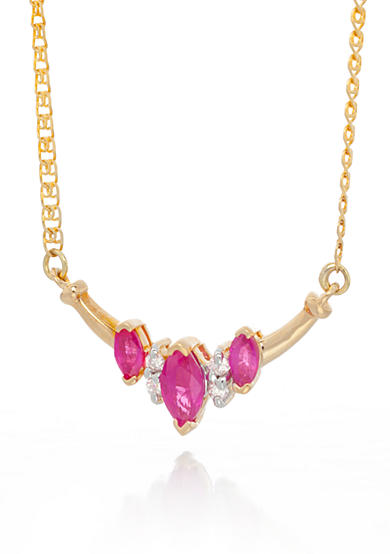 Belk & Co. 14k Yellow Gold 3 Stone Ruby and Diamond Necklace