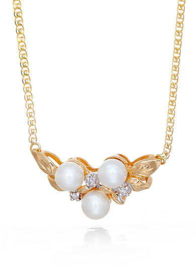 Belk & Co. 14k Yellow Gold Freshwater Pearl and Diamond Leaf Necklace