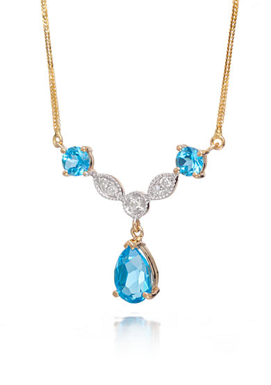 Belk & Co. Blue Topaz and Diamond Necklace in 14k Yellow Gold