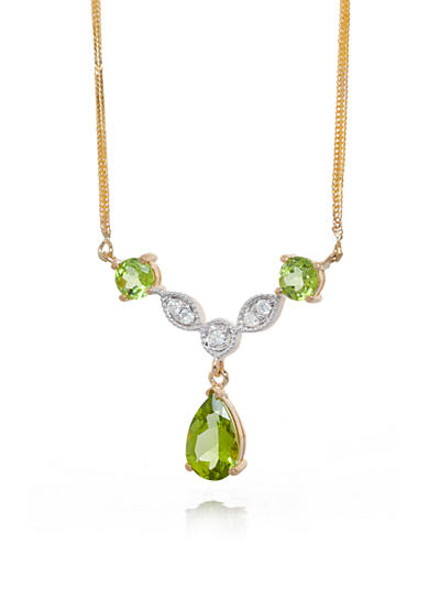 Belk & Co. Peridot and Diamond Necklace in 14k Yellow Gold
