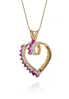 Belk & Co. Ruby and Diamond Heart Pendant in 14k Yellow Gold