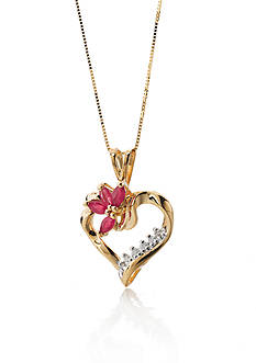 Belk & Co. 14k Yellow Gold Ruby and Diamond Heart Pendant