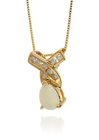 Belk & Co. 14k Yellow Gold Opal and Diamond Pendant