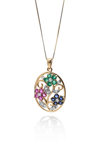 Belk & Co. 14k Yellow Gold Ruby, Sapphire, Emerald and Diamond Flower Pendant