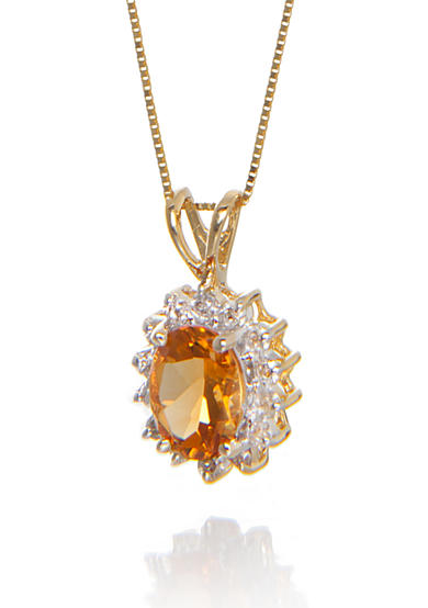 Belk & Co. Citrine and Diamond Pendant in 14k Yellow Gold