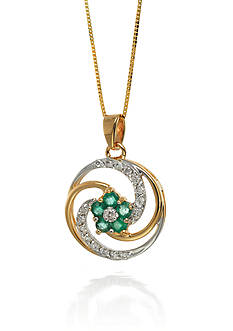 Belk & Co. 14k Yellow Gold Emerald and Diamond Pendant